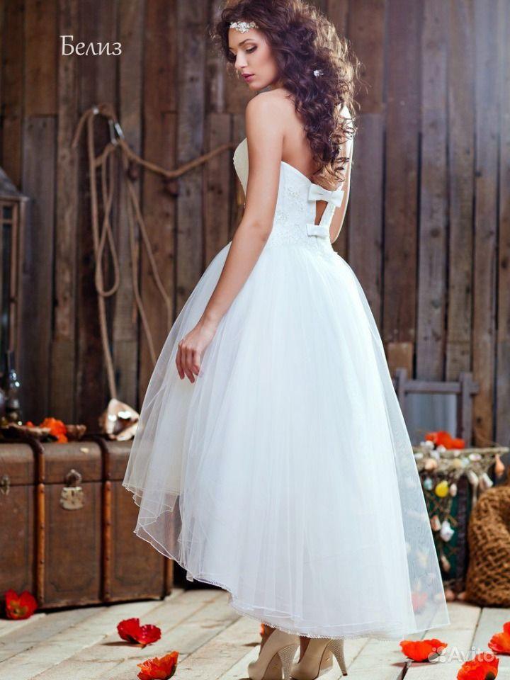 Свадебное платье укороченное спереди