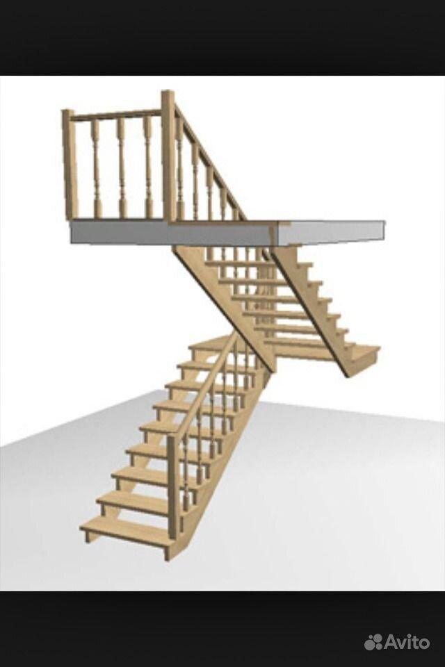 Деревянные двухмаршевые лестницы своими руками
