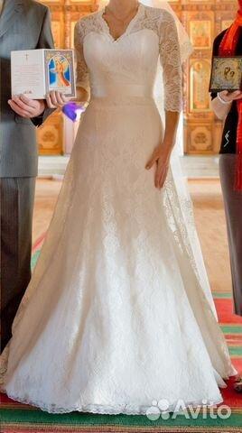 ecaa5447541 Кружевное свадебное подвенечное платье со шлейфом— фотография №1