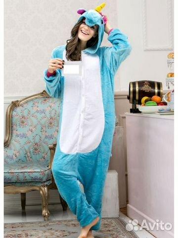 Пижама кигуруми Голубой Единорог с розовым хвостом купить в Санкт ... 52193e2274e1e