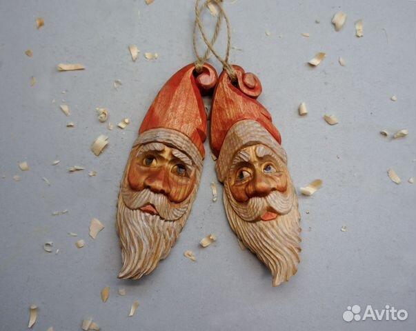 Резьба по дереву Дед Мороз. Новогодний подарок