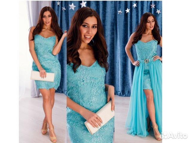 d890ed18f84 Красивое бирюзовое платье с накладной юбкой купить в Москве на Avito ...