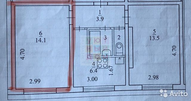 Комната 14.1 м² в 1-к, 1/5 эт.
