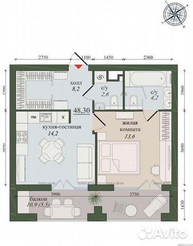1-к квартира, 48 м², 9/11 эт.  89210067197 купить 1