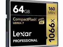 Карта CF Compact Flash Lexar 64gb (1066x)